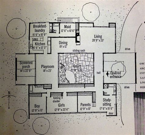 house plans with a courtyard inspiration retro 1959 home magazine features mid century