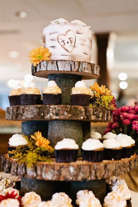 tree bark cupcake tower  rustic wedding cake tier