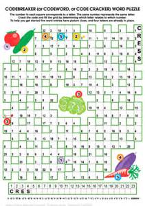 printable word code games vegetables codebreaker word puzzle free printable puzzle