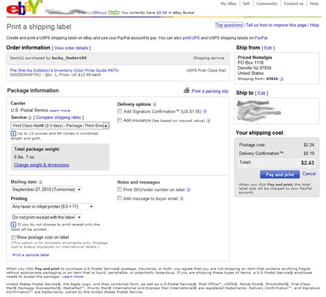 ebay delivery paying for ebay shipping labels with a credit card instead
