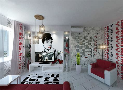 black white and red home decor apartment design for young man woman