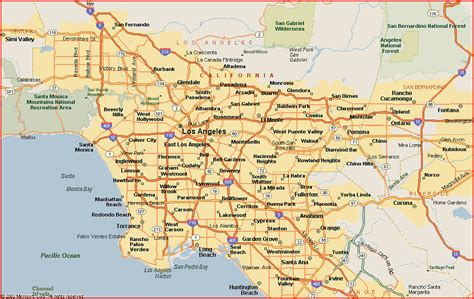 map of los angeles area map los angeles region