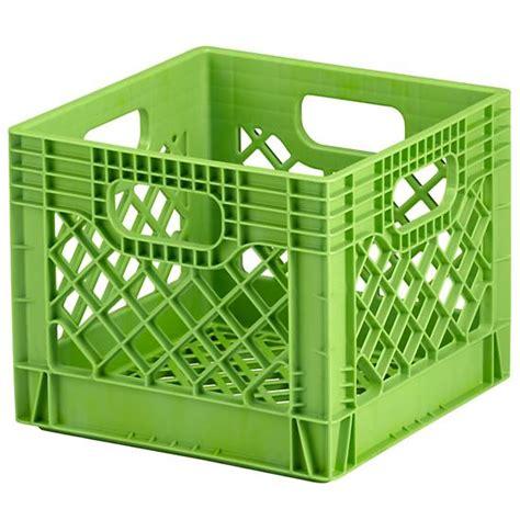 colored milk crates milk crate green