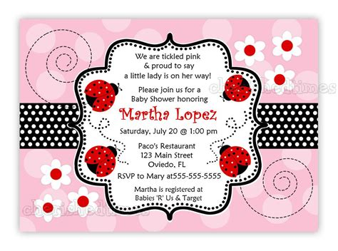 Business Card Template With Ladybug by Another Pink And Ladybug Baby Shower Invitation You