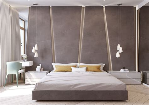 bedroom headboard wall panels the angular upholstered headboard in this modern bedroom