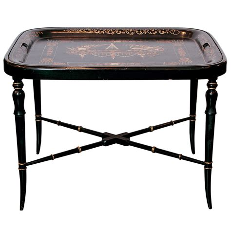19th century regency tole painted tray table for sale at
