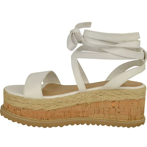 wedge flat shoes womens flat wedge espadrille lace tie up sandals