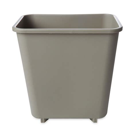 commercial trash cans rubbermaid commercial products 2 gal beige rectangular trash can rcp2952bei the home depot