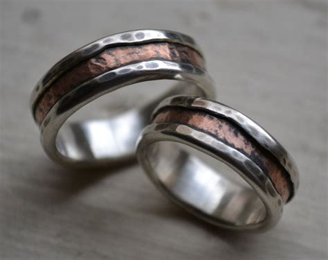 rustic silver and copper wedding ring set handmade