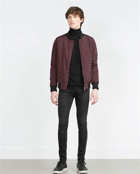 Jaket Bomber Polos Maroon Bomber Jaket zara bomber jacket with quilted lining in purple for lyst