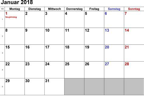 Kalender 2018 Excel Zum Ausdrucken Kalender Januar 2018 Zum Ausdrucken Pdf Excel Word