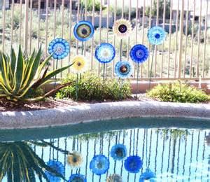 garden cobalt blue glass plate flower yard stake