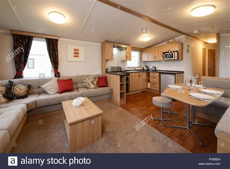Room Showing Interior Of A Static Caravan Showing Living Room Kitchen