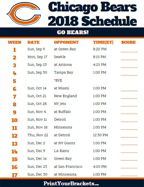 Chicago Bears Printable Schedule