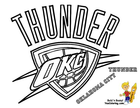 thunder basketball logo oklahoma city thunder coloring
