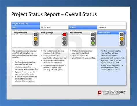 powerpoint themes for reporting project status report template powerpoint free business