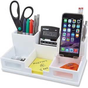 Desk Organizers Victor W9525 White Desk Organizer With Smart Phone Holder