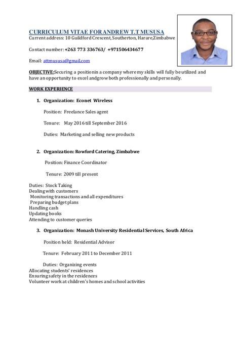 cv templates zimbabwe andrew curriculum vitae