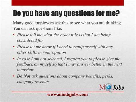 Do You Any Questions For Me Mba by Mindqjobs Fresher Hr Questions
