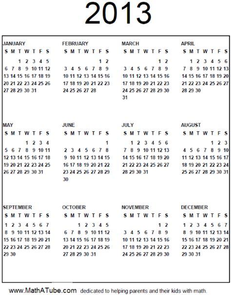 Calendar Of 2013 The Year 2013 Calendar Sheet All 12 Months On One Sheet