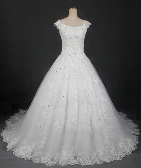 boat neck ball gown wedding dress modest ball gown boat neck cap sleeve lace beaded wedding