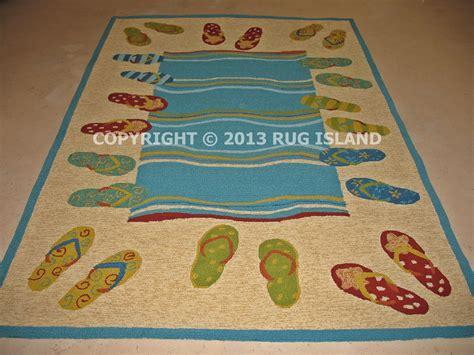 flip flop rug 8x11 tropical coastal flip flops blue teal indoor outdoor area rug ebay