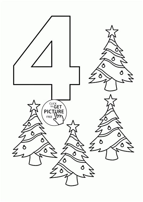 Number 4 Coloring Page Printable by Number 4 Coloring Pages For Counting Sheets