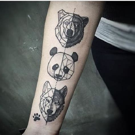 panda tattoo vorlage geometrische tiermotive tattoo spirit
