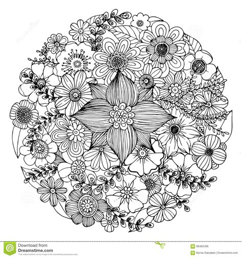 Flower Doodle Circle Vector Stock Vector Image 68462406 Spring Coloring Pages To Printl L