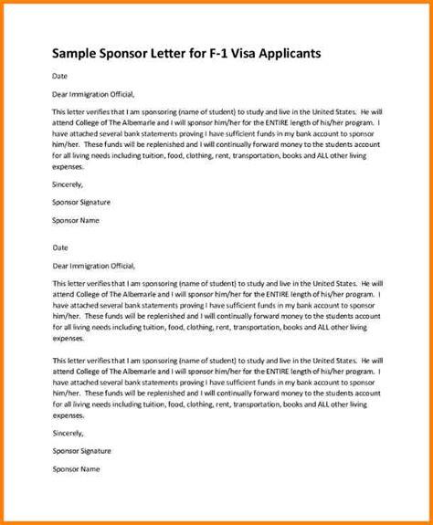 Visa Sponsorship Letter For Friend 11 sponsor letter sle for student resumed