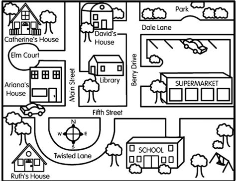 city map coloring page map clipart direction pencil and in color map clipart