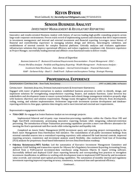 sle resume of a financial analyst sle resume for business analyst in sdlc phases for