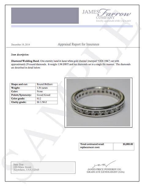 jewelry appraisal form template sle and jewelry appraisals farrow