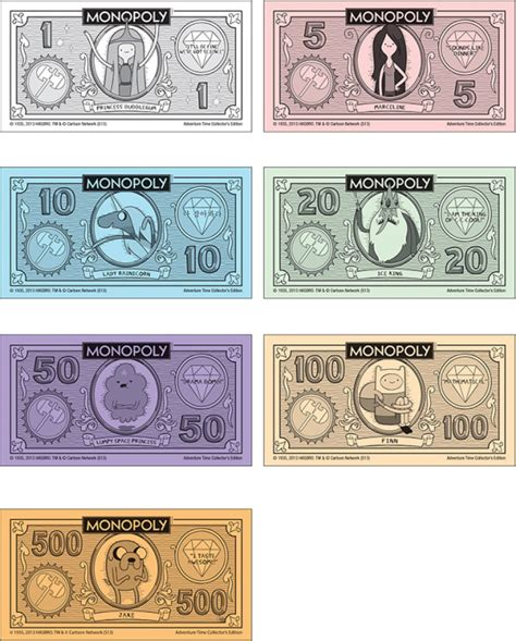 monopoly money colors image adventure time monopoly money png adventure time