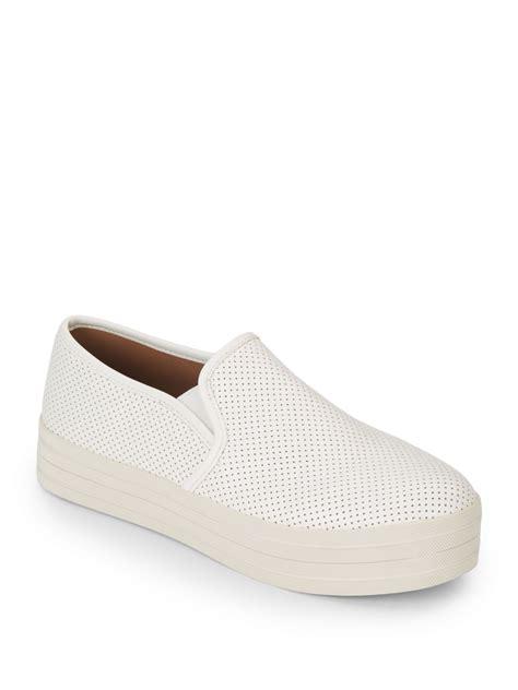 white slip on sneakers steve madden caiaa platform slip on sneakers in white lyst