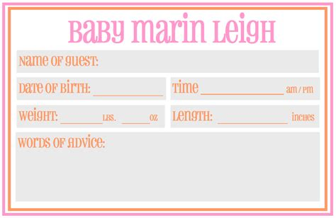 Baby Shower Prediction Card Templates by Baby Shower Guess Due Date Template New Calendar