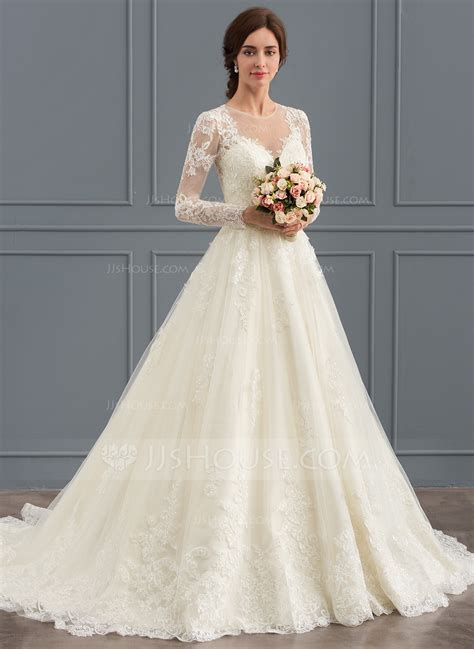Court Wedding Dress by Gown Scoop Neck Court Tulle Lace Wedding Dress