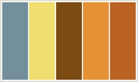 what colors compliment brown colorcombo301 with hex colors 738f9b efdd6f 7b4a12