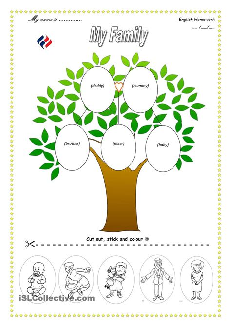 kindergarten worksheets my family tree kindergarten best