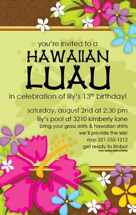 invitations birthday gals birthday tropical luau invitation