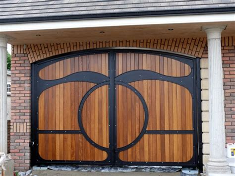 Gates With Wood Interiormag Net House Metal Front Door Gates