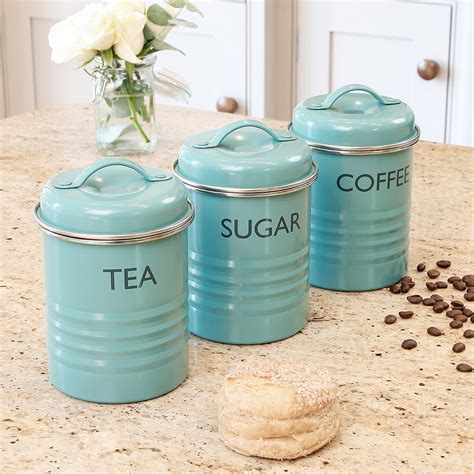 kitchen tea coffee sugar canisters tea coffee sugar pots kitchen blue metal typhoon rayware