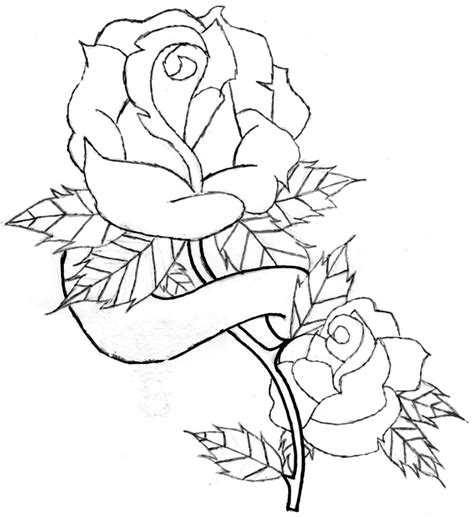 draw a rose tattoo and banner line by jdd27105 on deviantart