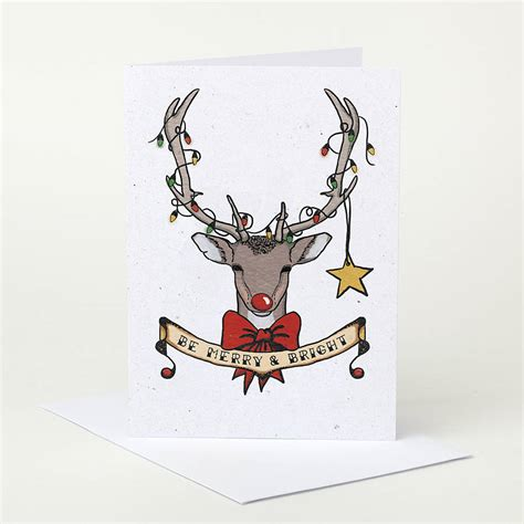 deer christmas card by pugyeah notonthehighstreet com
