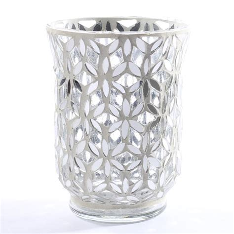 Mirror Mosaic Vase by Mirror Mosaic Snowflake Glass Hurricane Vase