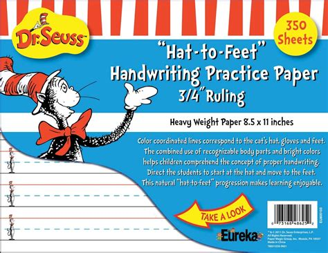 cat in the hat writing paper cat in the hat writing practice paper 350 sheets eureka