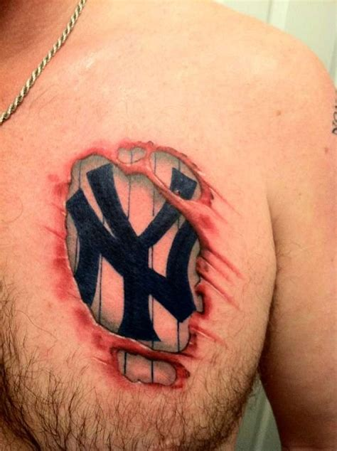 3d new york yankees tattoo design on chest tattoo design