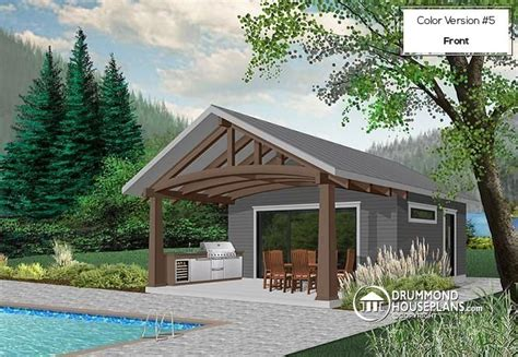 pool house shed plans w1911 pool house plan or cabana house plan shower room outdoor kitchen large