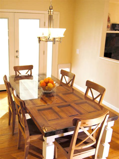 how to build a dining table from an door and posts