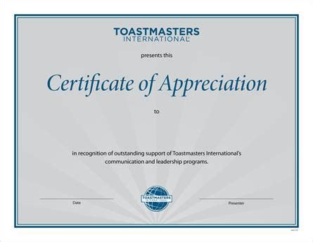 toastmasters certificate of appreciation template certificate of appreciation